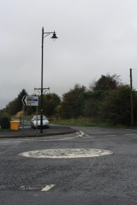 The mini-roundabout at the bottom of our road
